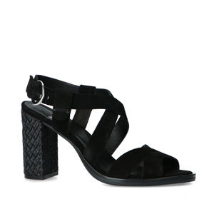 suède sandalettes zwart
