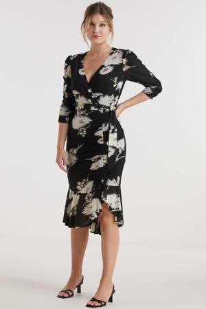 mesh jurk met rimpels en bloemenprint zwart
