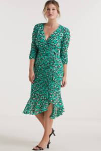 Miljuschka by Wehkamp mesh jurk met rimpels en panterprint groen, Groen/mint/zwart
