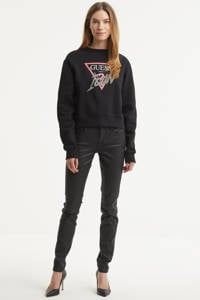GUESS coated slim fit broek Annette zwart, Zwart