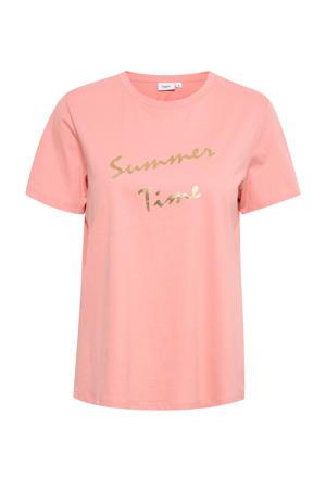 T-shirt Ginie met tekst en glitters roze