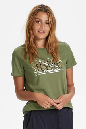 T-shirt Getina met printopdruk olijfgroen