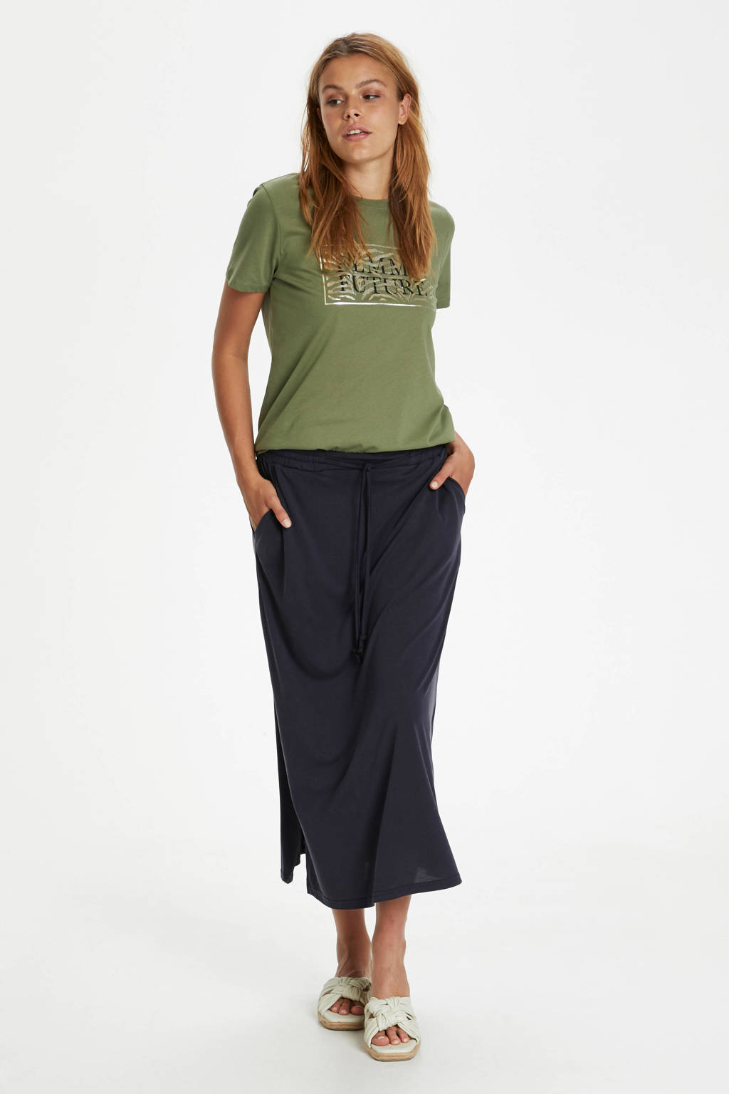 Saint Tropez T-shirt Getina met printopdruk olijfgroen, Olijfgroen