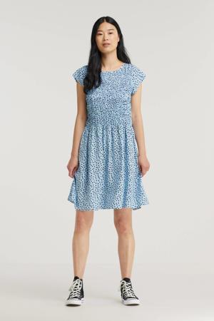 A-lijn jurk Gisla met stippen lichtblauw