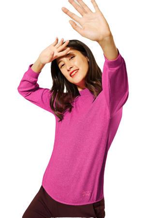 fijngebreide trui met borduursels fuchsia