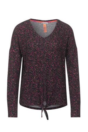 fijngebreide top met all over print zwart/roze/oranje