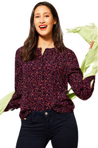 Street One blouse met all over print fuchsia/zwart/oranje