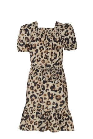 jurk Niya met panterprint en volant bruin/zwart