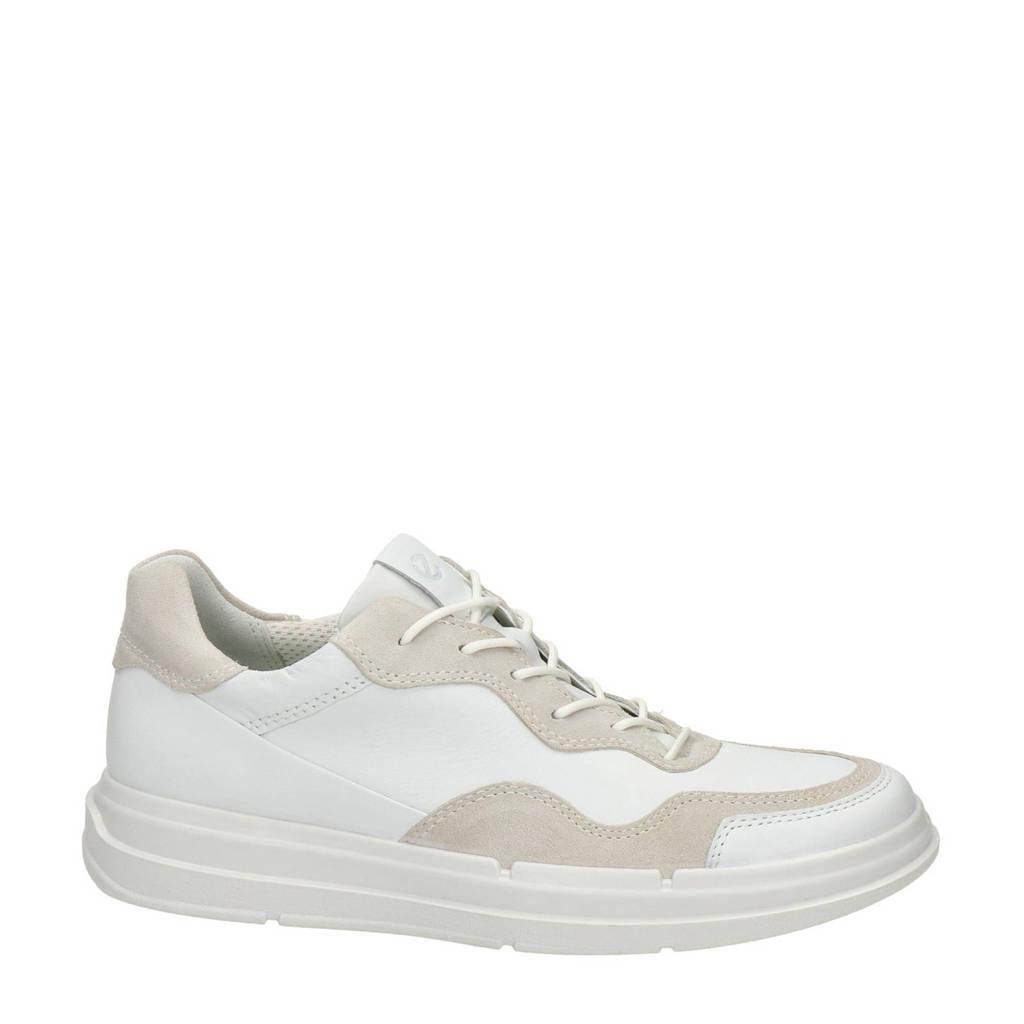 Ecco Soft X  leren veterschoenen wit/beige, Wit/beige