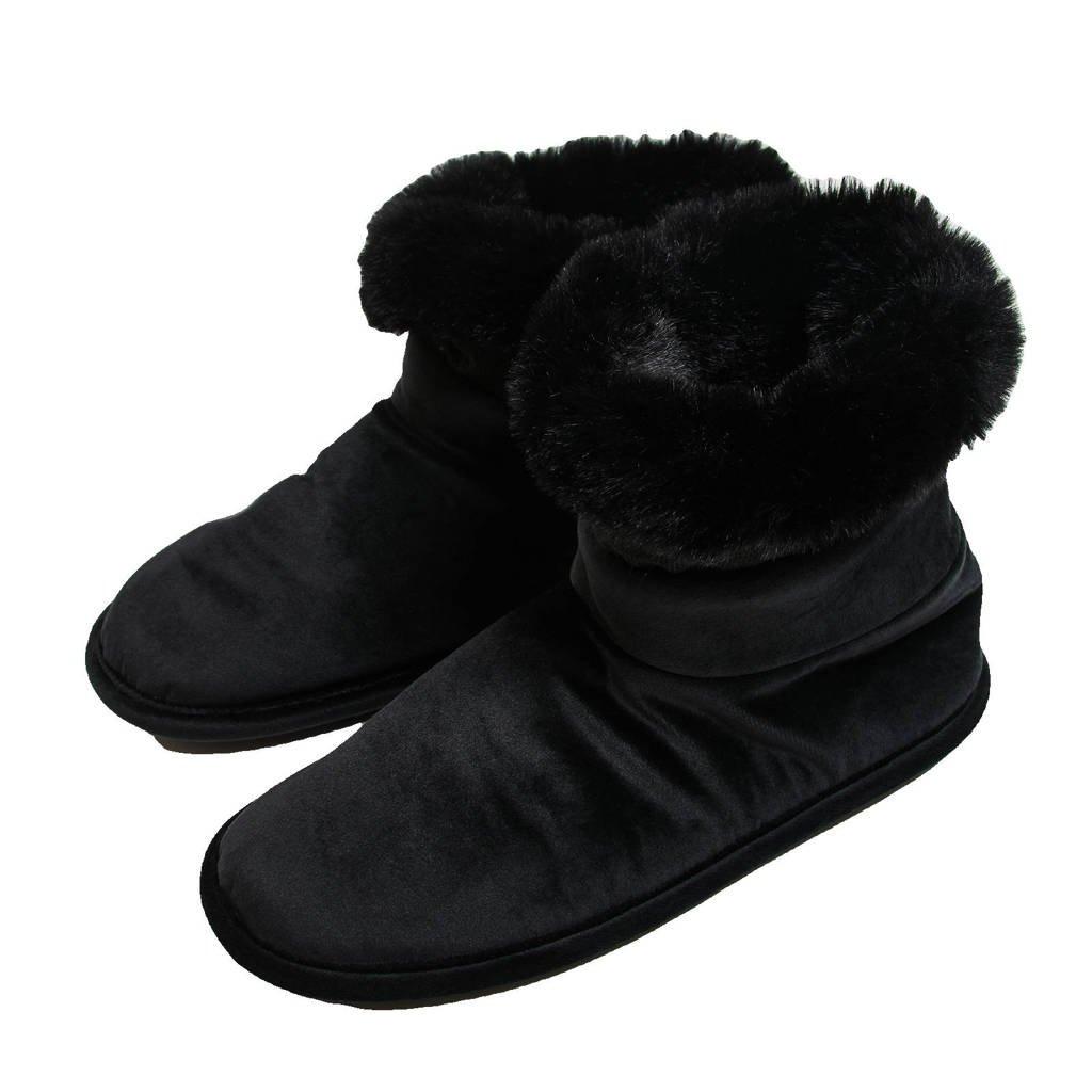 Hunkemöller velours pantoffels zwart, Zwart