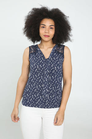 top met all over print en kant marine
