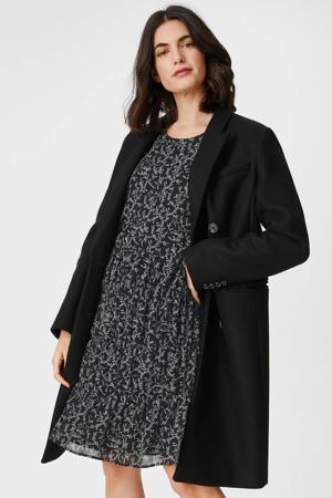 semi-transparante jurk met all over print en volant zwart