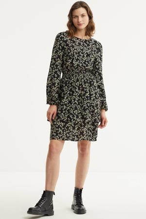 gebloemde jurk zwart/ecru