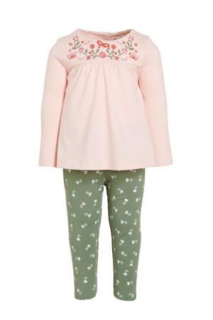 jurk + legging en haarband groen/lichtroze