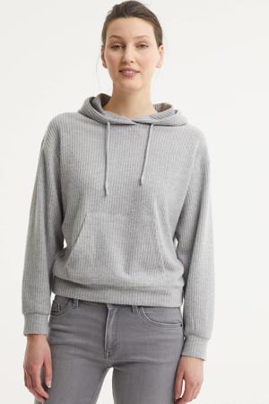 fijngebreide hoodie met textuur lichtgrijs