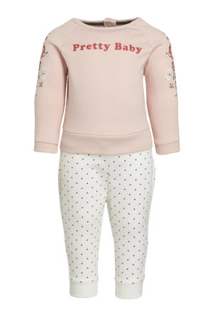 babybroek + sweater lichtroze/ecru