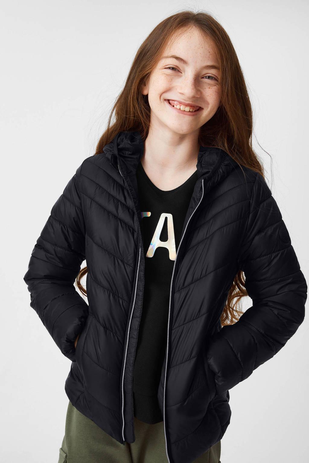 C&A Here & There gewatteerde zomerjas zwart, Zwart