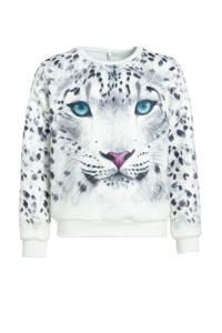 C&A Here & There sweater met printopdruk wit/zwart, Wit/zwart