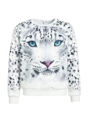 sweater met printopdruk wit/zwart