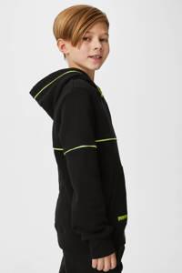 C&A Here & There hoodie met tekst zwart/neongeel, Zwart/neongeel