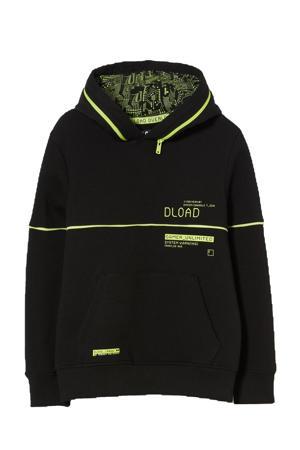 hoodie met tekst zwart/neongeel