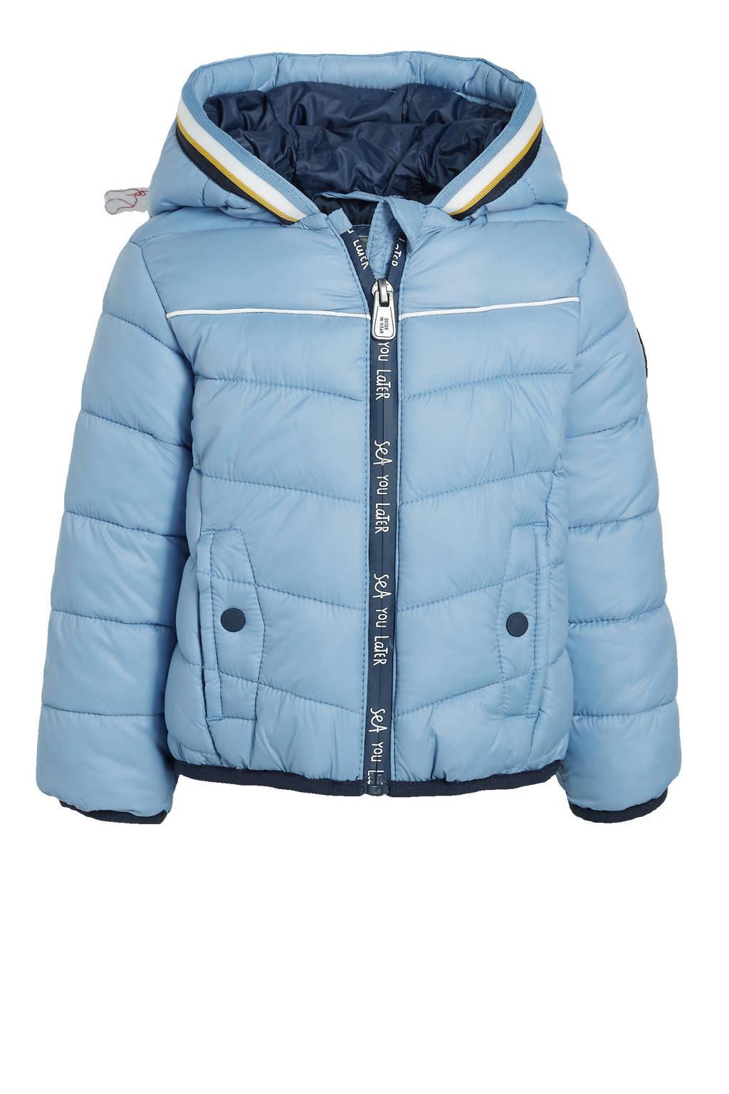 C&A Here & There gewatteerde winterjas lichtblauw/donkerblauw/wit, Lichtblauw/donkerblauw/wit