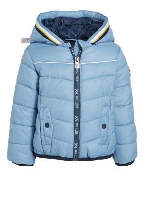 gewatteerde winterjas lichtblauw/donkerblauw/wit