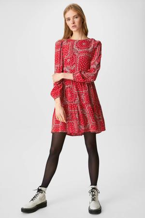jurk met all over print bandana red