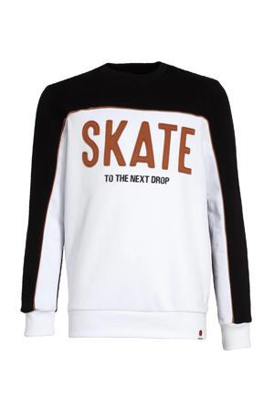 sweater met tekst wit/zwart