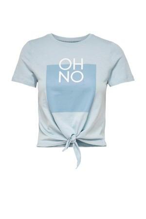 T-shirt ONLSILLY met printopdruk lichtblauw