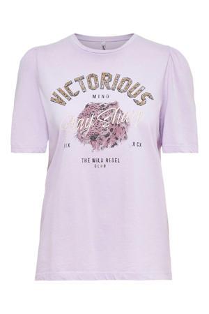 T-shirt ONLLUCY met printopdruk roze