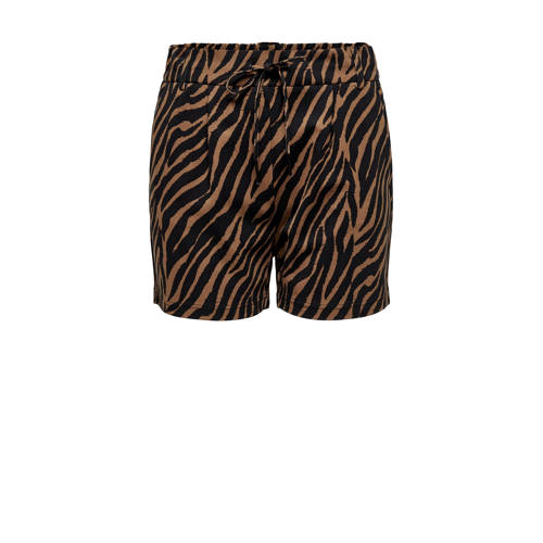 ONLY straight fit short ONLPOPTRASH met zebraprint bruin/zwart