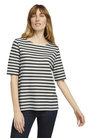 gestreepte T-shirt wit/groen
