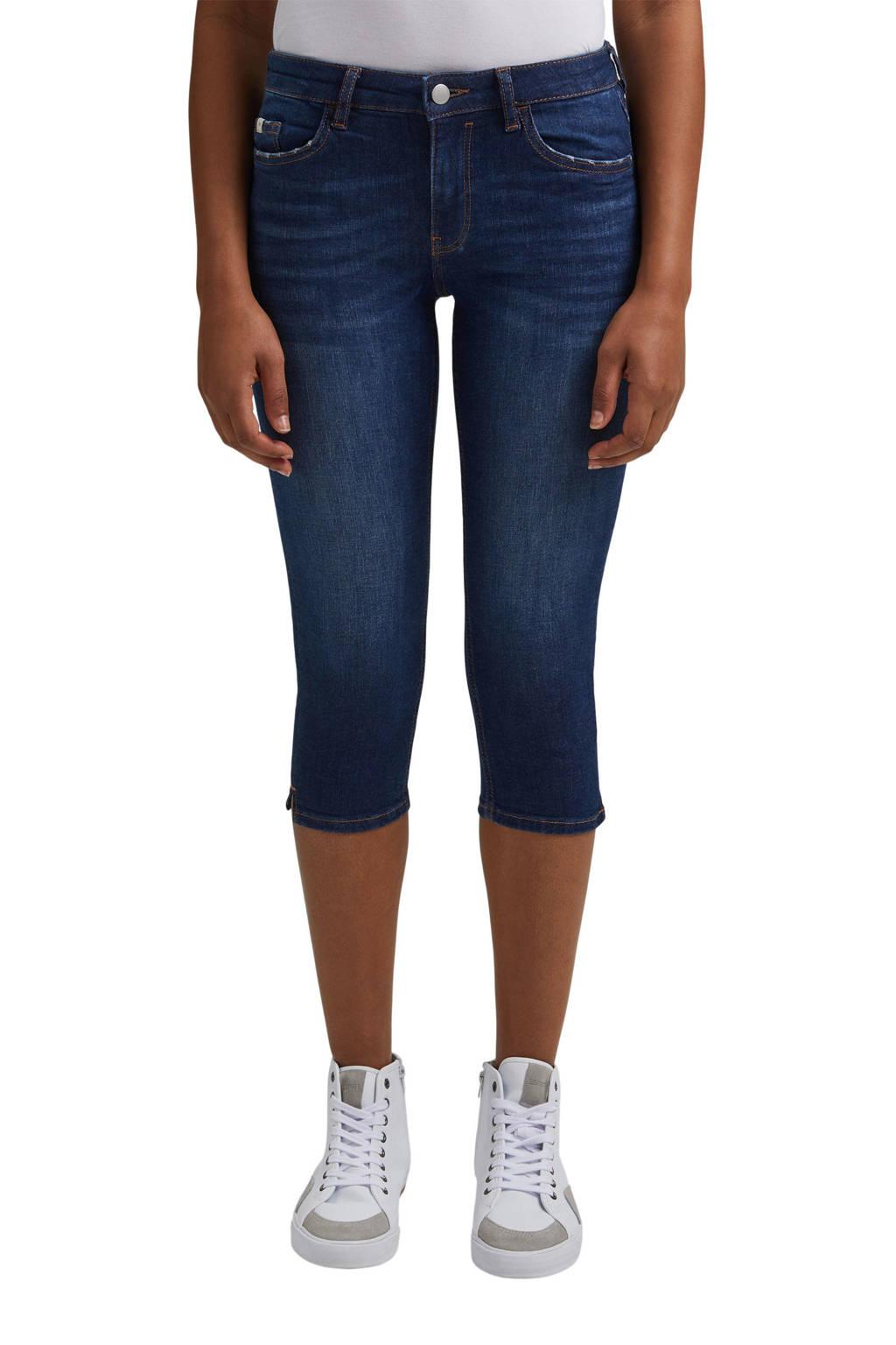 edc Women skinny capri met biologisch katoen donkerblauw, Donkerblauw
