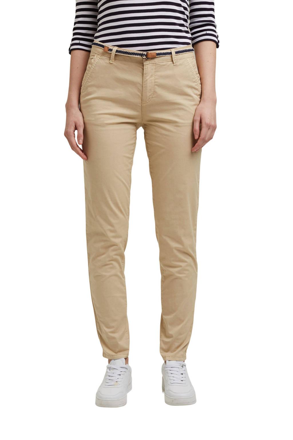 ESPRIT Women Casual slim fit broek beige, Beige