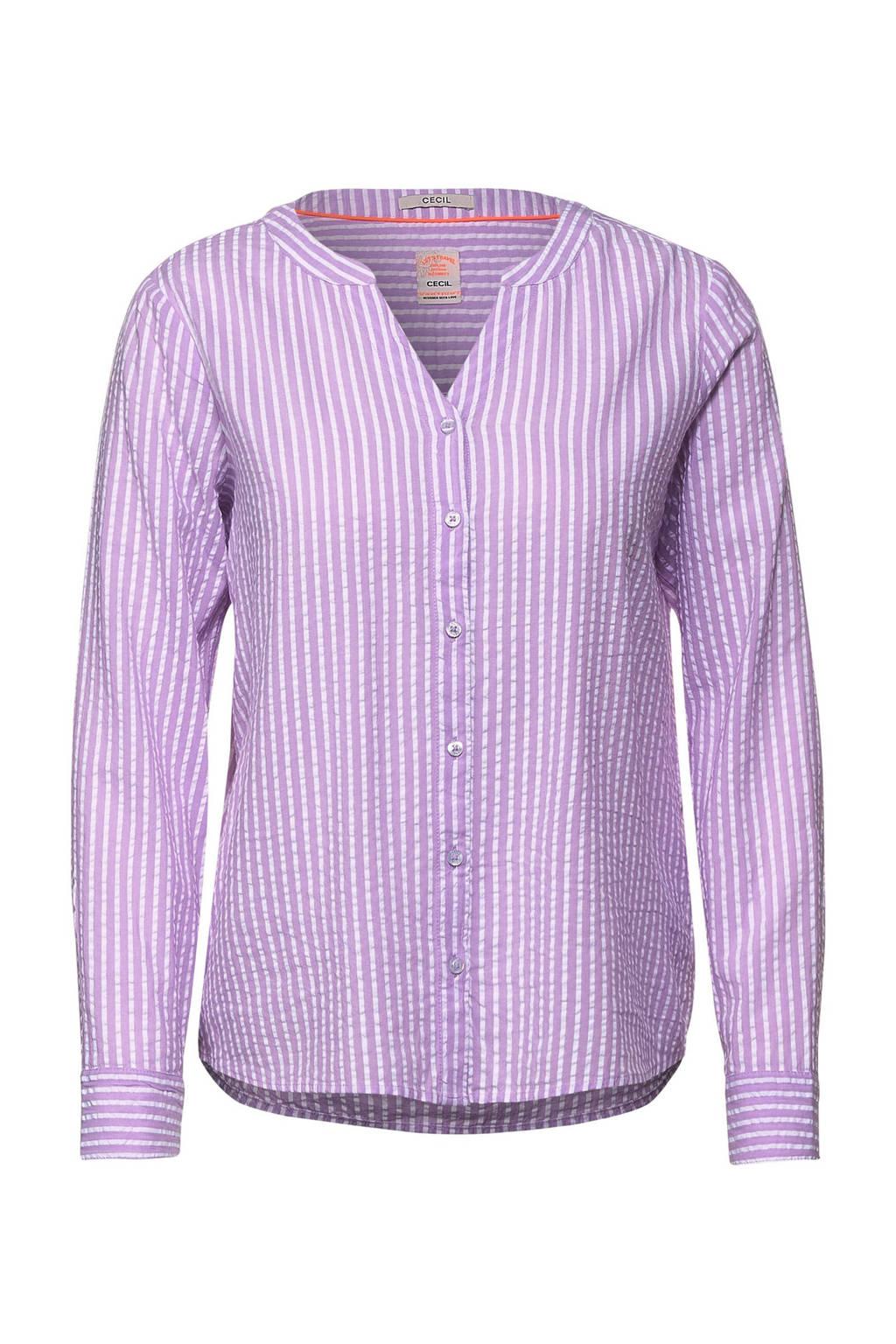 CECIL gestreepte blouse lila/wit, Lila/wit