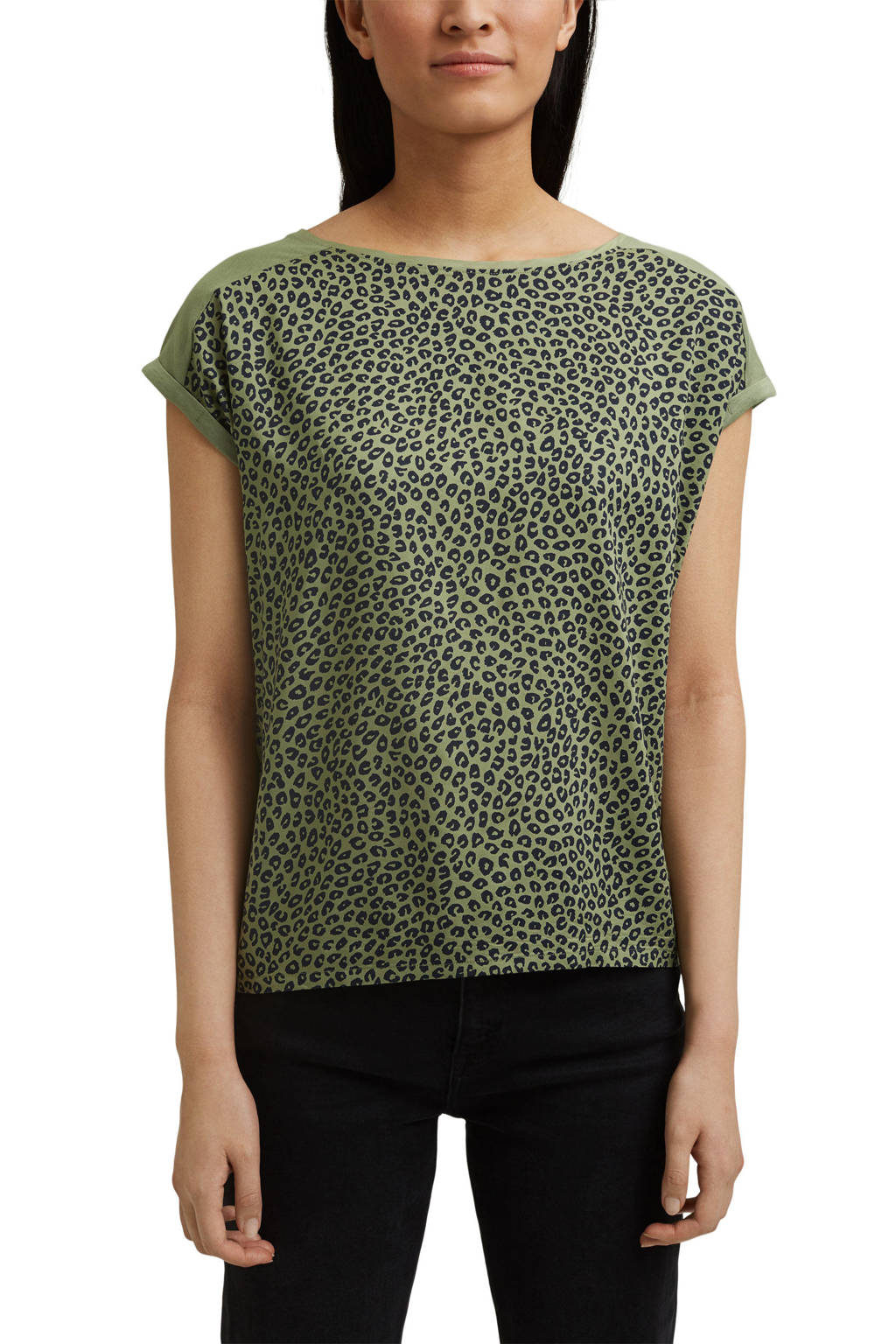 ESPRIT Women Casual T-shirt met biologisch katoen groen/zwart, Groen/zwart