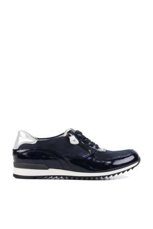 370013 comfort leren veterschoenen donkerblauw