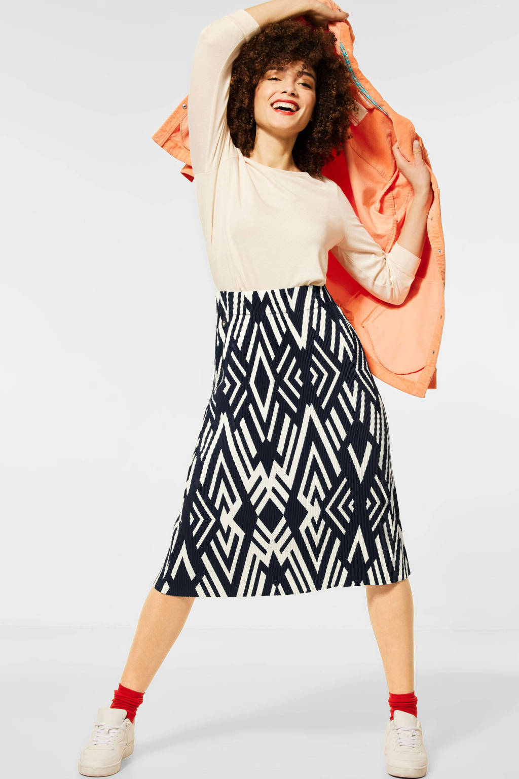 Street One rok met all over print donkerblauw/wit, Donkerblauw/wit