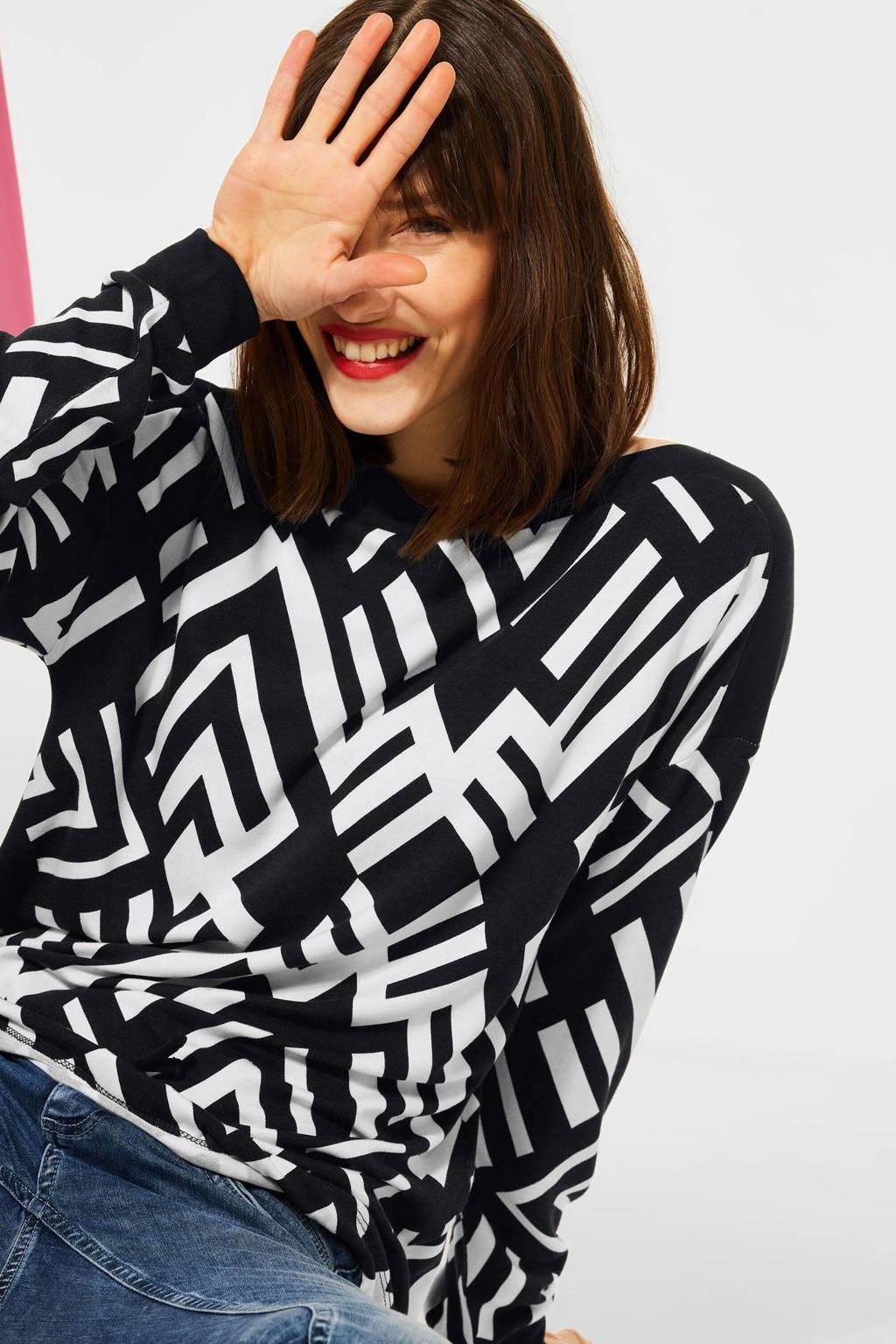 Street One pullover met all over print zwart/wit, Zwart/wit