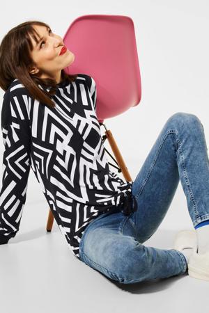 pullover met all over print zwart/wit