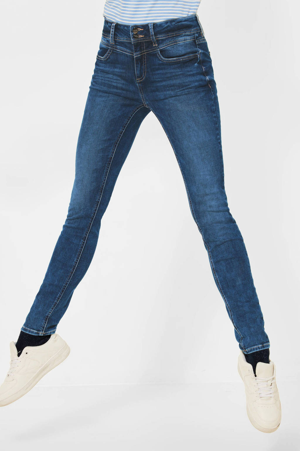 Street One slim fit jeans indigo blue random bleach, Indigo blue random bleach