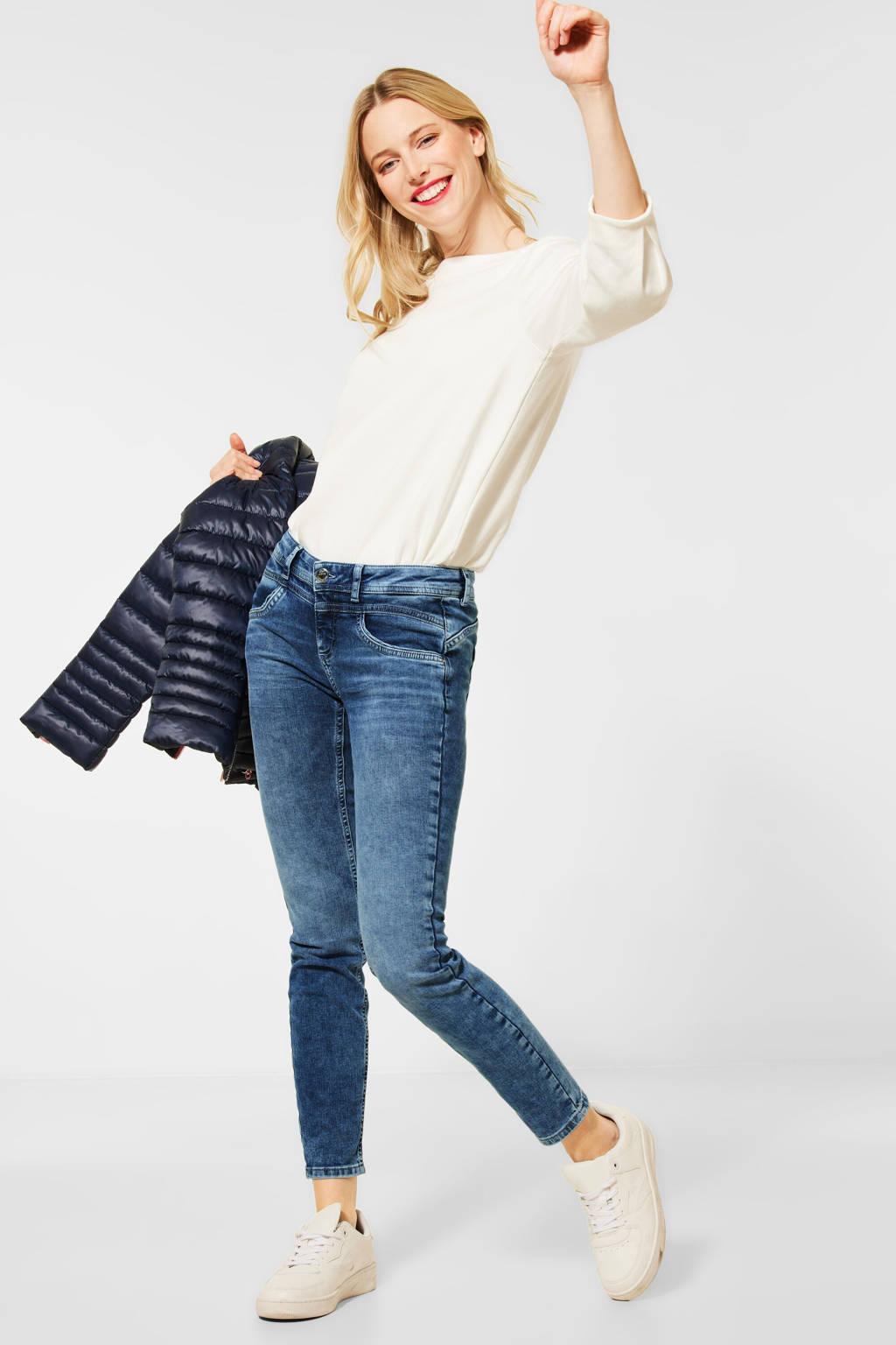 Street One low waist slim fit jeans donkerblauw, Donkerblauw