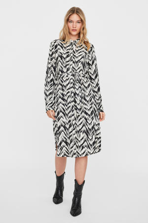 blousejurk VMKATHRINE van gerecycled polyester wit/zwart