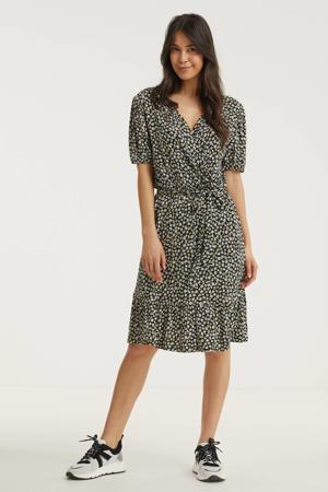 A-lijn jurk Mira  met all over print en ceintuur zwart/wit/geel