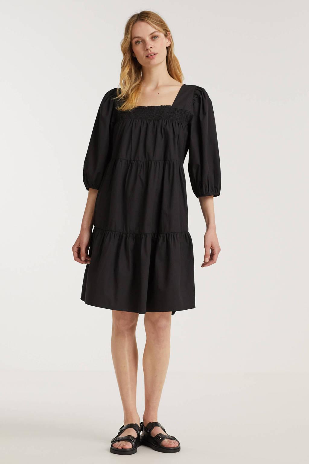 Peppercorn A-lijn jurk Maddie  van biologisch katoen zwart, Zwart