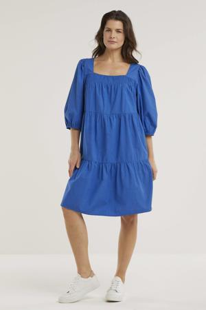 trapeze jurk Maddie Dress van biologisch katoen blauw