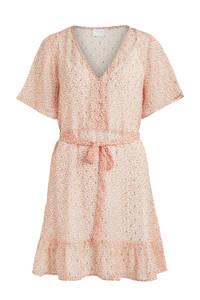 VILA A-lijn jurk VIFALIA zalm kleur met all over print en gouden glitters, Zalm