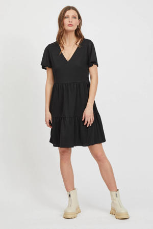 A-lijn jurk VINATALIE  van gerecycled polyester zwart