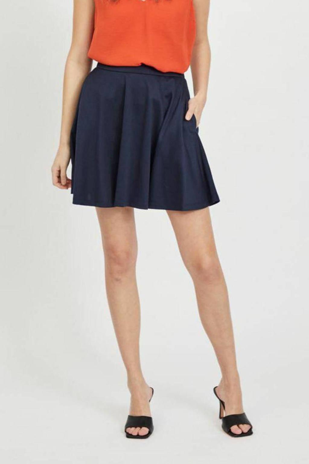VILA rok VITINNY  van gerecycled polyester donkerblauw, Donkerblauw